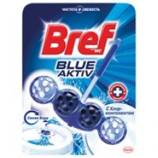 Блок для унитаза Вref blue color activ голубая вода; чистящее средство для унитаза Bref WC лимонная свежесть, 50 г