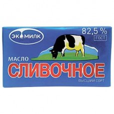 Масло сливочное Экомилк ГОСТ высший сорт 82,5%, 180 г