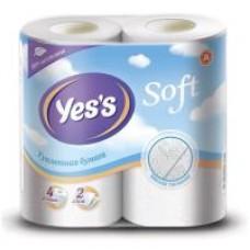 Туалетная бумага Yes's deluxe трехслойная белая, 4 шт