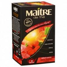 Напиток Maitre de The Букет изысканных вкусов чайный Гибискус, лемонграсс, малина, в пакетиках, 20x2 г